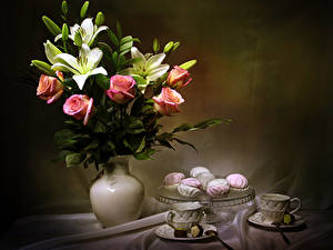 Картинки Натюрморт Букеты Розы Лилии Зефир Ваза Чашка Бутон Цветы Еда