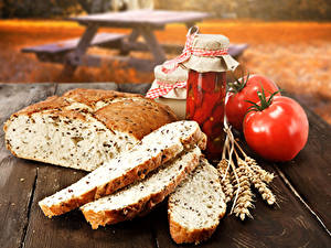 Обои Натюрморт Хлеб Помидоры Банка Колос Еда