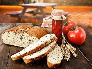 Обои Натюрморт Хлеб Помидоры Банке Колосья Еда