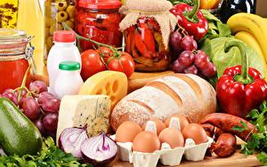 Фотография Натюрморт Хлеб Овощи Колбаса Сыры Яиц Банке Пища