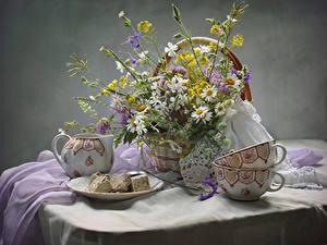 Картинка Натюрморт Ромашки Сладости Стол Корзины Чашка Цветы