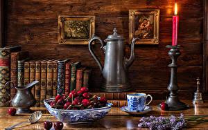 Картинка Натюрморт Свечи Вишня Кувшины Книга Чашке Продукты питания