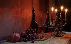 Обои Натюрморт Свечи Вино Виноград Гранат Бутылка Бокалы Еда