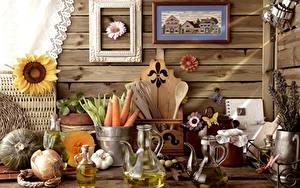 Фото Натюрморт Морковь Подсолнухи Лук репчатый Живопись Кувшин Банка Пища