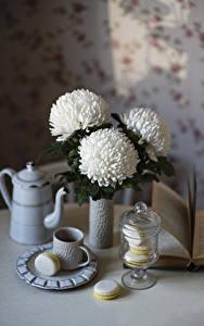 Фото Натюрморт Хризантемы Чайник Белых Чашке Макарон цветок Еда