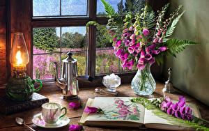 Фотография Натюрморт Дигиталис Керосиновая лампа Чайник Ваза Книга Чашка Цветы Еда