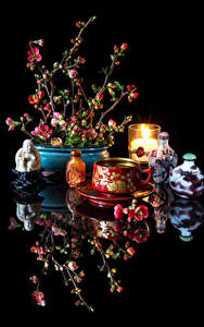 Фотографии Натюрморт Напитки Свечи Черный фон Чашке Отражение Chaenomeles japonica Продукты питания