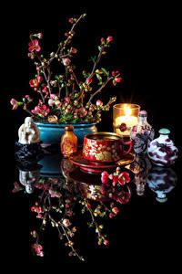 Фотографии Натюрморт Напитки Свечи На черном фоне Чашке Отражается Chaenomeles japonica Продукты питания