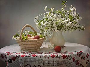 Обои Натюрморт Цветущие деревья Вазе Корзинка Ветки Яйца Стола цветок