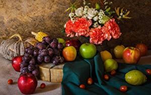 Фотографии Натюрморт Виноград Фрукты Яблоки Гвоздики