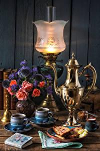 Фотография Натюрморт Керосиновая лампа Букеты Кофе Кувшин Чашка