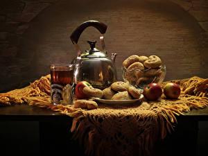 Картинки Натюрморт Чайник Чай Яблоки Выпечка Стола Стакан Еда