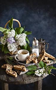 Картинки Натюрморт Сирень Кофе Выпечка Ветвь Чашке Еда Цветы