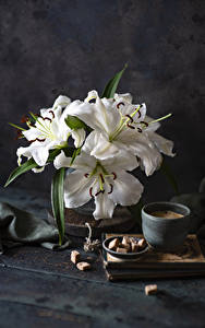 Обои Натюрморт Лилия Кофе Доски Белая Сахара Чашке цветок