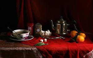 Картинки Натюрморт Мандарины Чайник Чашке Сахара