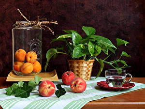 Фото Натюрморт Персики Абрикос Банка Чашка Ветвь Пища