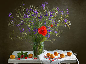 Фото Натюрморт Мак Абрикос Смородина Стола Колокольчики Банки цветок Еда