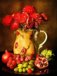 Обои Натюрморт Роза Гранат Виноград Вазы Красная Зерна Цветы