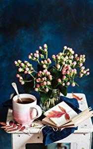 Обои Натюрморт Чай Букеты Чашка Книга Пища