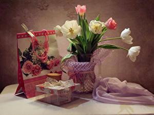 Фотография Натюрморт Тюльпан Подарок цветок