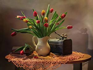 Обои Натюрморт Тюльпаны Вазы Цветы