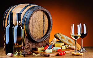 Картинка Натюрморт Вино Бочка Хлеб Сыры Помидоры Бутылки Бокал