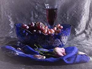Обои Натюрморт Вино Виноград Розы Бокалы Еда