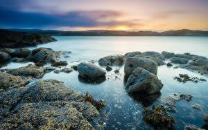 Фотография Камень Берег Рассвет и закат Шотландия Kildonan