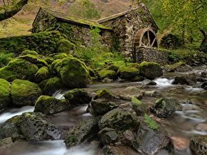 Фотографии Камни Англия Мха Водяная мельница Cumbria, Borrowdale Valley Природа