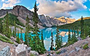 Фото Камни Горы Озеро Парк Канада Пейзаж Банф Ели Alberta Природа
