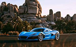 Картинки Камни Синий Металлик Купе Rimac, C-Two, California Edition автомобиль
