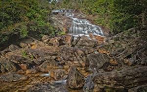 Фотография Камни Речка Водопады США North Carolina Природа