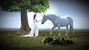 Обои Камень Единороги Траве Деревьев Платье Белые Фантастика Девушки