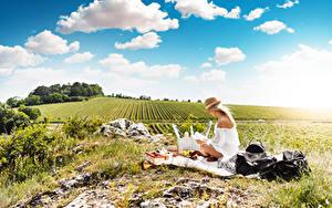 Картинки Лето Поля Небо Трава Пикник Блондинка Шляпы Сидит Природа