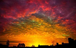 Обои Рассветы и закаты Силуэт Облачно Природа