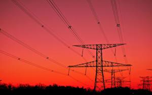 Картинки Рассветы и закаты Силуэт Линия электропередачи