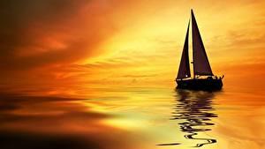 Картинка Рассветы и закаты Парусные Лодки Вода Силуэт Природа