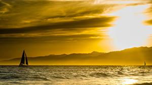 Фото Рассветы и закаты Озеро Силуэта Природа