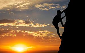Фотография Рассветы и закаты Альпинизм Небо Солнце Силуэт Альпинисты Утес Природа