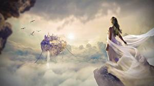 Обои Рассветы и закаты Замки Платья Облака Скале Фантастика Девушки