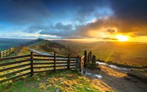 Обои Рассвет и закат Англия Забор Холмы Облачно Mam Tor, Peak District, Derbyshire Природа