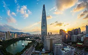 Картинка Рассвет и закат Южная Корея Небоскребы Сеул Lotte World Tower город
