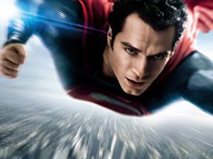 Фото Супермен герой Мужчины Henry Cavill Летят Красивые Man of Steel Фильмы