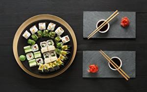 Картинка Суши Имбирь Палочки для еды Соевый соус
