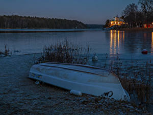 Фотография Швеция Вечер Речка Побережье Лодки Природа