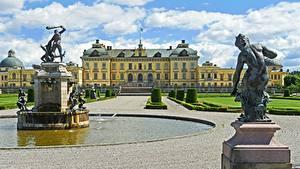 Фотографии Швеция Фонтаны Скульптура Стокгольм Дворец Drottningholm город