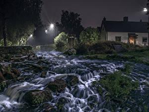 Картинки Швеция Река Дома Водопады Камень Ночью Мох HDRI Природа