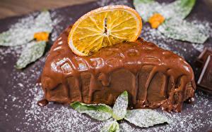 Картинки Сладости Пирожное Шоколад Апельсин