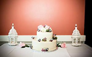 Фотографии Сладкая еда Торты Свечи Розы Продукты питания