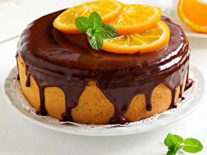 Фотографии Сладости Торты Шоколад Апельсин Пища
